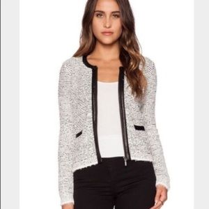 Joie Jacolyn B Boucle jacket with leather trim